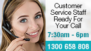 Customer Service staff ready for your call 1300 658 808