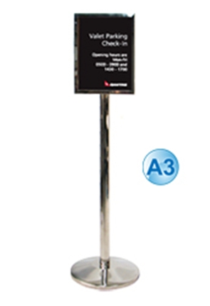 Poster Stand - A3 Free Standing Stainless Steel