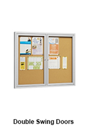 Notice Bulletin Board With Double Swing Doors