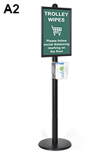 A2 Signage Stand and Wipes Dispenser