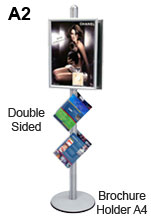 A2 Poster Stand and Angled A4 Acrylic Brochure Holder