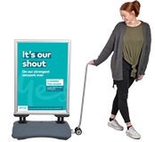 Weatherproof Outdoor Sign with Pavement Sign Trolley