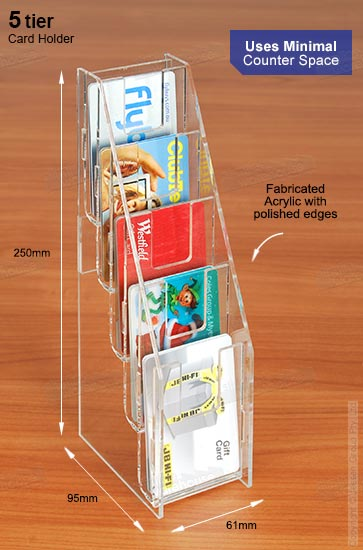 Vertical business card holder has 5 tiers for leaflets colourmoves