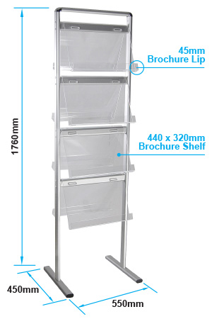 Free Standing Brochure Or Magazine Rack Holds 8 X A4