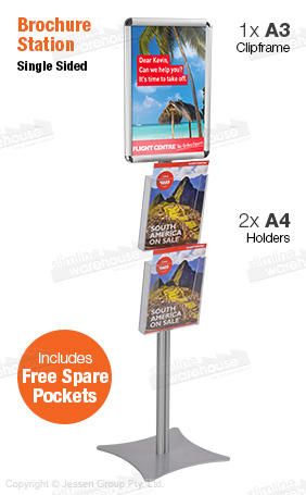 Brochure holder stands have an A4 clip frame for marketing and two clear pockets for brochures!