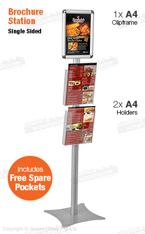 Literature display rack holds an A4 graphic & A4 brochures