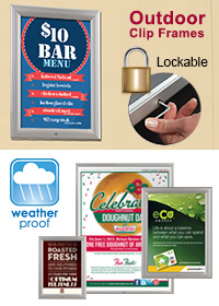 Outdoor Lockable Clip Frame - Poster Holder - Silver