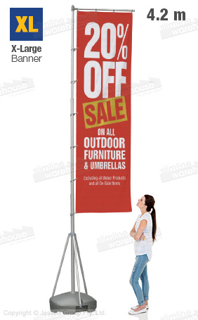 Event flag is 4.2m tall, easily seen from across a field or room!