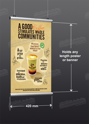 A2 (420 mm) width Graphics fit on Hanging Banners