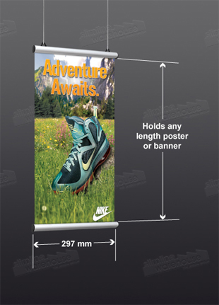 Poster Hanging holds A3 (297mm) width banners