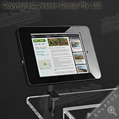 Versatile unit able to display tablet in either landscape or portrait