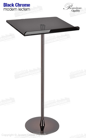 Modern podiums with black acrylic top and black chrome single pole