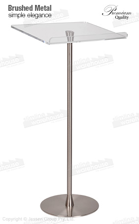 Lucite lectern featuring single pole with brushed metal finish