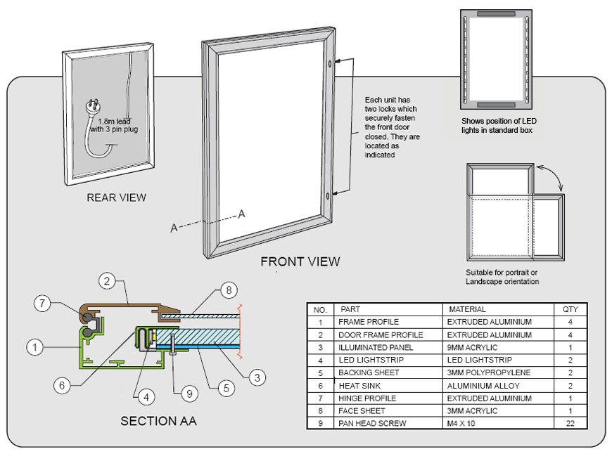 YGW lightbox specifications