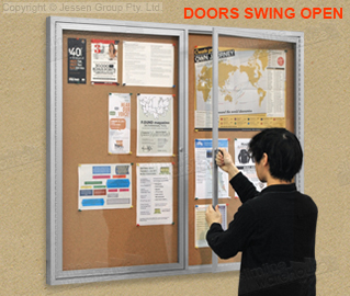 This Glass Notice Board Is A Lockable Display For Use In