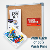 CORK BOARD  <br>450 x 600mm <br> WITH 30 PINS PACK<br>