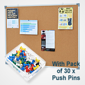 CORK BOARD  <br>900 x 1200mm <br>WITH 30 PINS PACK<br>