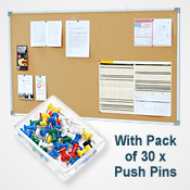CORK BOARD  <br>900 x 1500mm <br>WITH 30 PINS PACK<br>