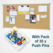 CORK BOARD  <br>900 x 1800mm <br>WITH 30 PINS PACK<br>