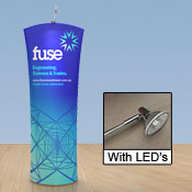 Curved 2m Fabric Display Stand - with LED Lights