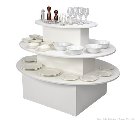 Oval Retail Display Tables 3 Tier, 3 Tier Round Display Table