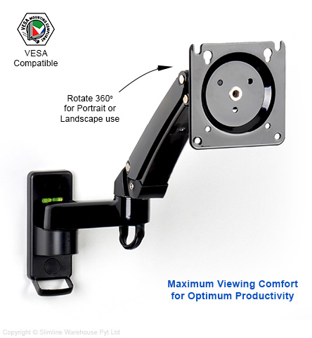 LCD wall mount arm features gas piston inside each arm for easy positioning