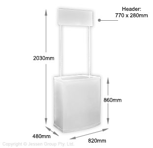 Pop Up Display Counter Dimensions