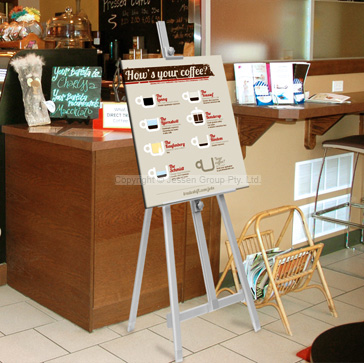 Display easel for use in many locations