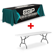 <b>Printed Table Throw</b> INCLUDES 8FT TABLE <br>(2438 x 762mm)
