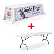 <b>Printed Table Throw </b> INCLUDES 8FT TABLE <br> (2438 x 762mm)