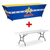 Printed Table Throw INCLUDES 8FT TABLE  (2438 x 762mm)