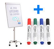 Rolling Whiteboard Stand w/ Marker Kit